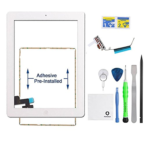 Fixcracked Touch Screen Replacement Parts Digitizer Glass Assembly for Ipad 2 + WiFi Antenna Cable & Professional Tool Kit (White)