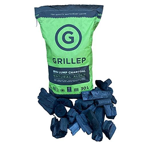 Grillep Carbón puro natural de calidad de restaurante de madera de aliso, 100% certificado FSC, de origen sostenible, 90L