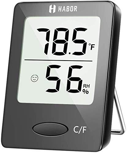 Zimmer, [Mini Style] Meter, Hygrometer-Thermometer LCD-Display und Gesicht Icons, Monitor Temperatur und Feuchtigkeit for Home Office Nursery Comfort, Schwarz, 1,7 Zoll Jzx-n