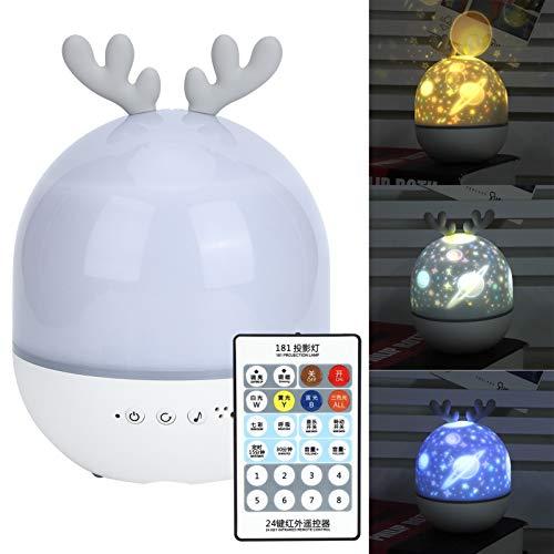 Gatuxe Luz de Noche de Estrella giratoria de 360 Grados con Cambio de Color, Recargable por USB, función Bluetooth, proyector de Estrella, Noche, Mini Lindo con Control(Cute Deer)