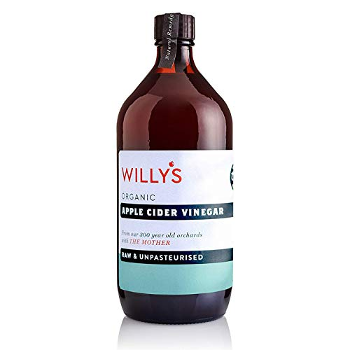 WILLY'S Apple Cider Vinegar With The Mother Glass Bottle, 1 Litre, 5060183134454