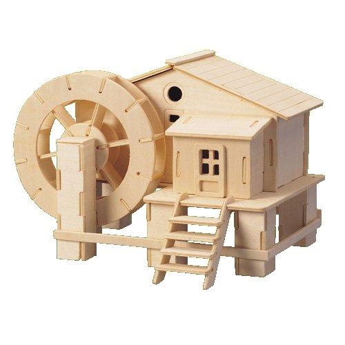 Etna Iława Wassermühle 3D Holzbausatz Wasserwerk Holz Anlage Haus Steckpuzzle Holzpuzzle Bauwerk P068