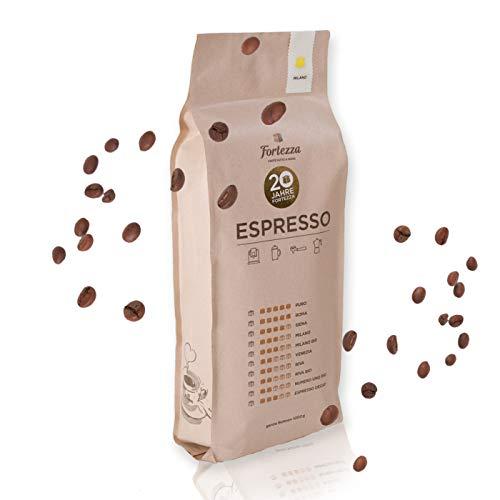 Fortezza Espresso Milano | 1kg ganze Bohnen | Speziell für Vollautomaten entwickelt | Premium-Kaffee in bester Qualität | Ausgewogener Röstgrad | Gourmet-Robusta & Hochland-Arabica