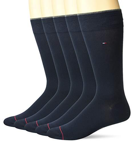 Tommy Hilfiger Men's 5 Pair Flat Knit Rayon Blend Crew Socks, Navy, Shoe Size 7-12