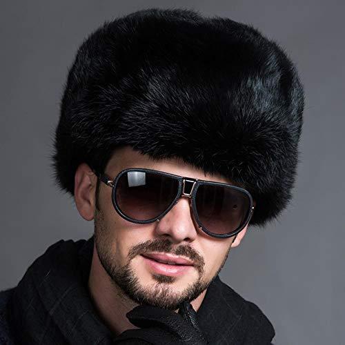 XCLWL Russen Mütze Herren Wintermode Russische Hüte Kappen Männliche Herren Warme Bomber Hüte Solide Verdicken Earflap Caps Solide Schnee Hüte Wärmer, Schwarz