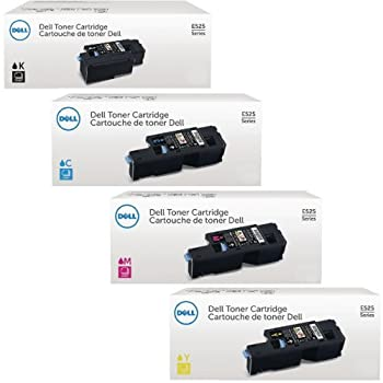 Genuine Dell E525W Toner Set for Dell E525W Color Laser All-in-One Multifunction Wireless and Cloud Ready Printer 4 Pack