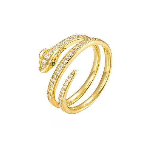 Anillo de serpiente de diamantes de lujo de plata esterlina 925 para mujer Anillos exquisitos para mujer 7 R1