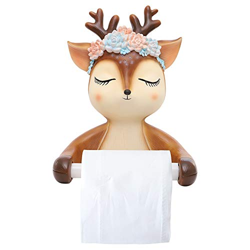 GelanMeng Animal Farmhouse Toilet Paper Holder Stand with Shelf, Bedroom Rustic Deer Funny Novelty Paper Towel Rack Bathroom Toilet Paper...