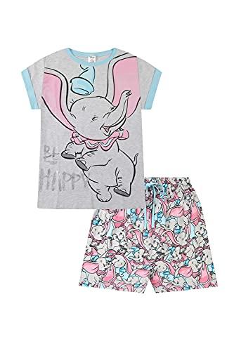 Disney Dumbo Be Happy Langer Damen Schlafanzug aus Baumwolle Gr. 48/50 DE, blau
