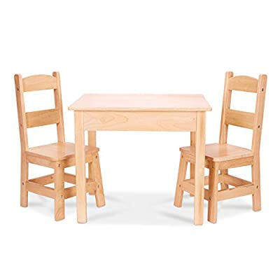 Melissa and Doug Solid Wood Table and 2 Chairs Set