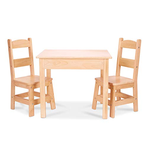 "Melissa & Doug Tables & Chairs 3-Piece Set - Natural Blonde, 20"" H x 23.5"" W x 20.5"" L"
