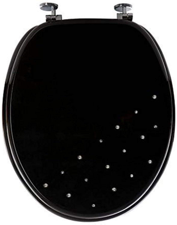2 X New Bathroom Diamante WC Toilet Seat, Plastic, Black