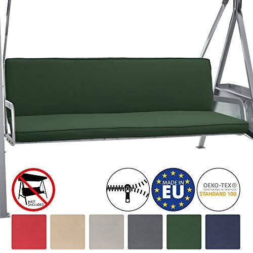 Beautissu Hollywoodschaukel Auflage Loft HS 180x50cm Auflagen für 3-Sitzer Hollywoodschaukel mit Rücken-Kissen Dunkelgrün erhältlich
