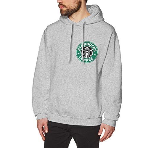 ATRXZ Herren Starbucks Logo Merch Bekleidung Kapuzenpullover Hoodie Sweatshirt für Männer Langärmliges Pullover Kapuzenjacke Gray S