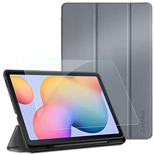 EasyAcc Custodia Compatibile con Samsung Galaxy Tab S6 Lite 10.4 con Vetro Temperato-Ultra Sottile con Cover Leggero Supporto in Pelle PU Case Compatibile con Tablet Samsung Tab S6 Lite 2020,Grigio