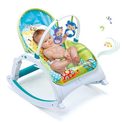 Brakites Soothing Portable Deluxe Swing, Comfort Electric Baby Rocking Chair with Music, Can Be Used from The Beginning of The Newborn (Blue)