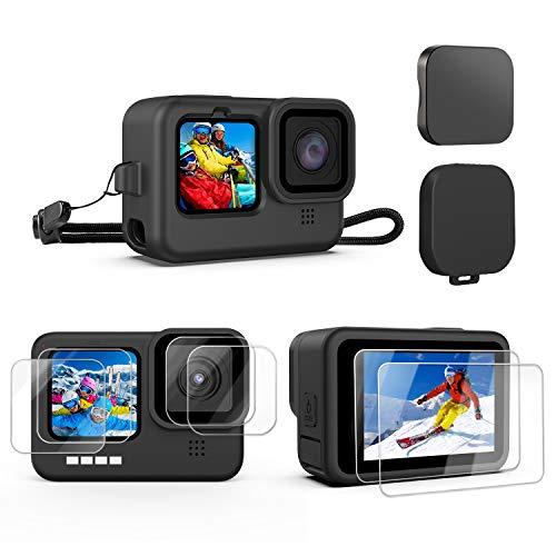 Kupton Kit de Accesorios para GoPro HERO9 Black [10 Piezas], Funda Protectora de Silicona con Cordón + 6 Vidrios Templado para Proteger la Lente de la Pantalla + 3 Tapas de Lentes para GoPro 9 Black