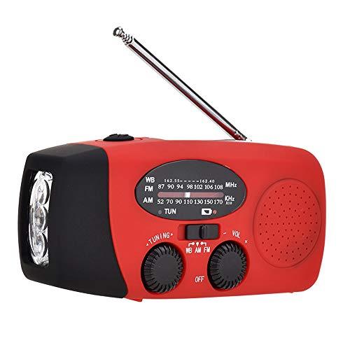 TreeLeaff Radio portátil de emergencia solar con manivela de emergencia, radio dinamo con cargador de teléfono USB recargable, linterna de emergencia para camping, senderismo