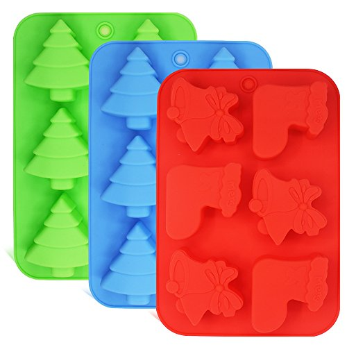 3 Pack Silicone Molds, Shapes of Christmas Trees, Socks and Bells, FineGood Baking Trays for Holiday Cakes, Candies, Chocolates, Jelly, Soap - Green,Blue,Red