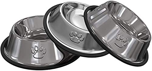 3 Pezzi Ciotole Gatto, Piotola Cibo in Acciaio Inox Ciotole Antiscivolo per Gatti