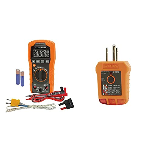 Klein Tools Digital Multimeter, Auto-Ranging, 600V MM400 & RT210 Outlet Tester, Receptacle Tester for GFCI / Standard North American AC Electrical Outlets, Detects Common Wiring Problems