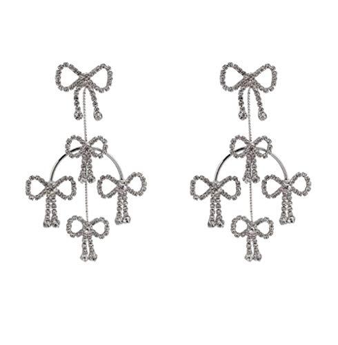 MXHJD Moda de lujo brillante diamantes de imitación grandes largos Bowknot borla pendientes colgantes estilo barroco coreano mujeres colgantes joyería