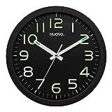 Nuovo - Reloj de pared redondo moderno y minimalista, esfera negra silenciosa y antitictac, números grandes, funciona para sala de estar, dormitorio, oficina (26 cm)