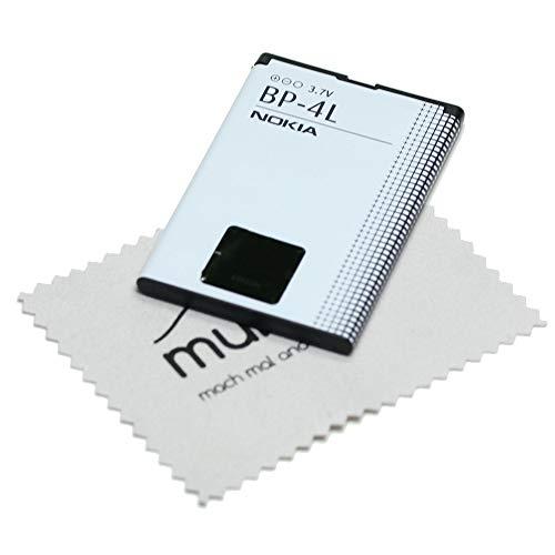 Akku für Nokia Original BP-4L für Nokia 6650 Fold, 6760 Slide, E52, E55, E6-00, E61i, E63, E71, E72, E90, N810, N97 mit mungoo Bildschirmputztuch
