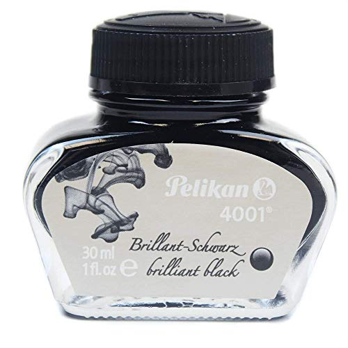Pelikan 4001 Bottled Ink for Fountain Pens, Brilliant Black, 30ml, 1 Each...