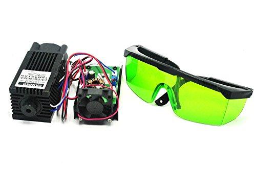 Poderoso 2W 445nm 450nm Blue Laser Diodo Dot Module 2000mw grabador w / 405nm Gafas