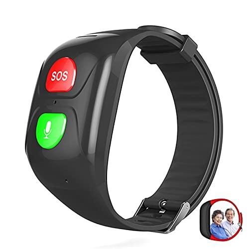 URJEKQ Bracelet SOS Traqueur GPS pour Personnes âgées Appel d'urgence SOS localisation GPS téléphone Aide en Cas d'urgence IP67 étanche Montre Intelligente téléphone,Noir