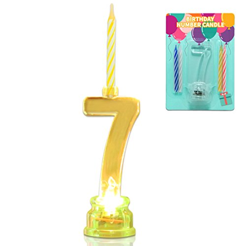 Novelty Place Multicolor Flashing Number Candle Set, Color Changing LED Birthday Cake Topper with 4 Wax Candles (Number 7)