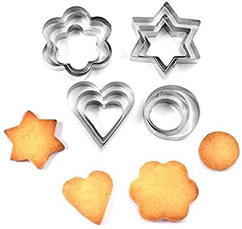 Cortador de galletas de acero inoxidable, 12 piezas de acero inoxidable con forma de corazón, para hornear galletas, chocolate, repostería, pan de cocina