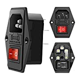 3 Pack Red button AC 250V 10A IEC 320 C14 Panel Mount Plug Adapter Power Connector Socket Black Screw Mount 3 Pins Inlet Power Plug Socket by MUZHI