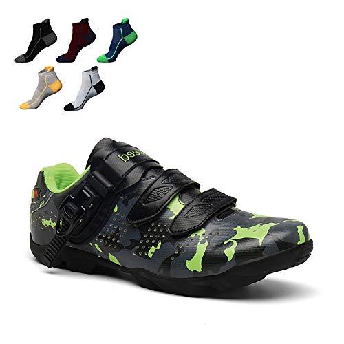 MTB Zapatilla Adulto Zapatillas De Ciclismo con Suela De Caucho Y Tira De Velcro 1 Par Calzado De Carreras De Triatlón Sin Cerradura La Mejor Opción para Principiantes,40