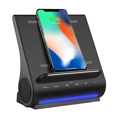 Super Fast 15 Watts Wireless Charging Bluetooth Speakers Handsfree Mic 4 in 1 Hub for iPhone 12 / 12 Mini / 12 Pro / Samsung Galaxy S20 / Note 20