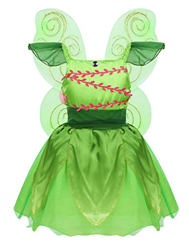 MSemis Costume Disfraz Hada de Bosque Niñas Vestido Princesa Tutú Verde Cosplay Campanilla Disfraces Elfos Halloween Traje Lujoso Cumpleaños Navidad Fiesta Verde 7-8 años
