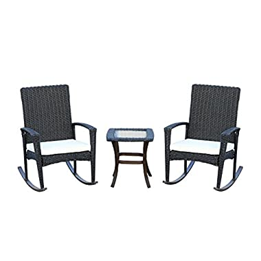 Outsunny 3 Piece Outdoor Rocking Chair and Table Set - Dark Gray
