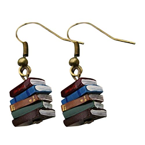 Laoonl - Orecchini a forma di libro in stile retrò, con semplici orecchini da ragazza