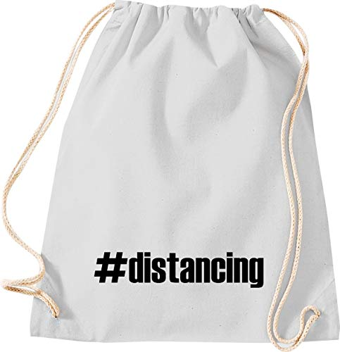 Shirtstown - Bolsa de deporte para el gimnasio, distancing Hashtag Distanzation, la crisis, la cohesión, juntos, situaciones de emergencia, social, agradecimiento, gracias, bolsa de deporte, color gris claro, tamaño 37 cm x 46 cm