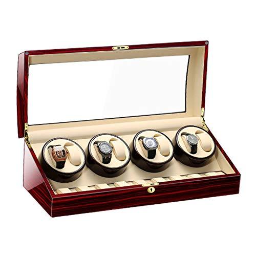 Jlxl Caja Enrolladora Reloj para 8 + 9 Relojes Automáticos Watch Winder Motor Silencioso Gran Capacidad Caja Almacenamiento Madera Lujo 5 Modo Rotación Accesorios (Color : C)