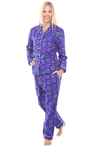 Alexander Del Rossa Womens Flannel Pajamas, Long Cotton Pj Set, 2X Dog Puppy Paw Prints (A0509Q862X)