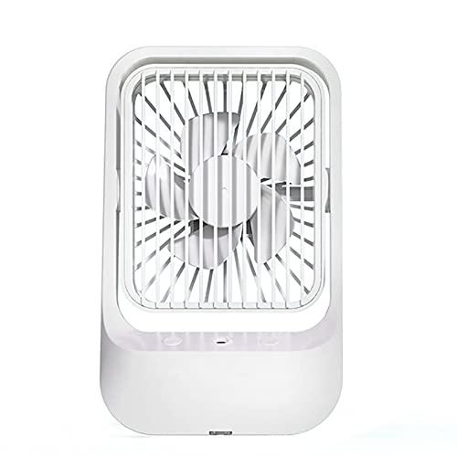 CarWorks Aire Acondicionado Portátil,Humidificador Ventilador de USB, 5 W, Recargable de 1200 mAh, Humidificador/Ventilador 2 en 1, 3 Velocidades,Capacidad de 370 ml,Blanco