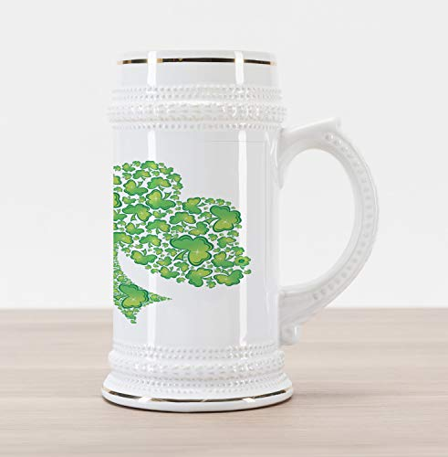 Lunarable Shamrock Beer Stein Mug, Irish Saint Patrick's Day Pattern with Spring Season Celtic Charm Design, Traditional Style Decorative Printed Ceramic Large Beer Mug Stein, Green and White