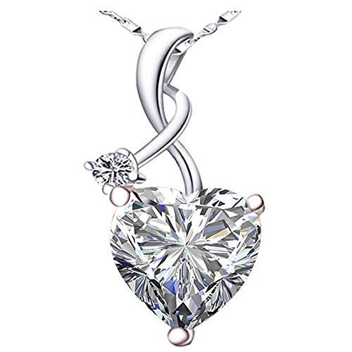 Huluob Collar de corazón con Colgante de Cristal palpitante, Aniversario del día de San Valentín, Regalo de Boda para Amantes y Novias (sin Cadena) (White)