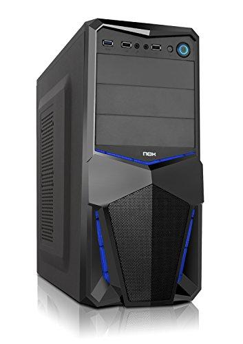 Nox PAX - NXPAX - minitorre ATX y micro ATX, USB 3.0, frontal acabado metal mesh, LED, espacio hasta 3 ventiladores y 4 discos duros, compatible con graficas de gran tamaño, color negro/azul