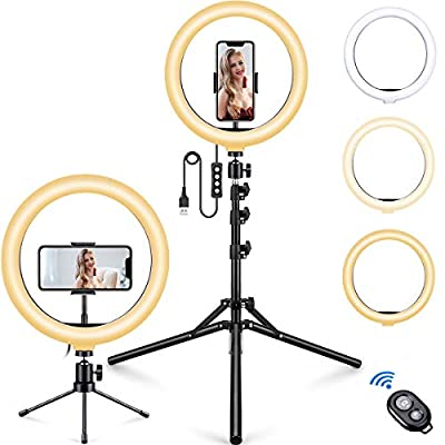 "10.2"" Selfie Ring Light with Phone Tripod Stand and Table Tripod and Phone Holder, MOSFiATA Upgraded Dimmable Camera Ring Light for TikTok/YouTube/Live Stream/Makeup/Photography by MOSFiATA"