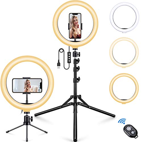 """10.2"""" Selfie Ring Light with Phone Tripod Stand and Table Tripod and Phone Holder, MOSFiATA Upgraded Dimmable Camera Ring Light for TikTok/YouTube/Live Stream/Makeup/Photography"""