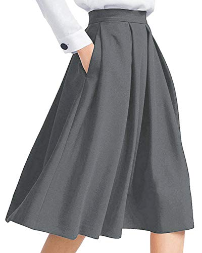 Auxo Damen Elegant Hohe Taille A-Line Röcke Knielang Maxi Cocktail Midi-Rock mit Taschen Grau EU 44-46/Etikettgröße XL