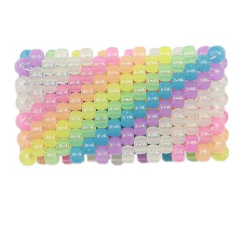 Glow in the Dark Diagonal Rainbow Kandi Cuff, kandi bracelet, beaded cuff, bead bracelet, for halloween music festivals and raves